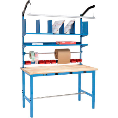 Global Industrial™ Electric Packing Workbench Maple Block Safety Edge 60 x 30 - Riser Kit
