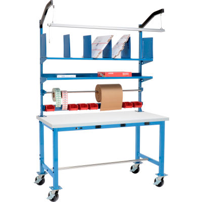 Global Industrial™ Mobile Electric Packing Workbench ESD Square Edge - 60 x 30 with Riser Kit