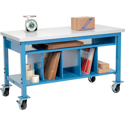 Global Industrial™ Mobile Packing Workbench Plastic Square Edge - 60 x 30 with Lower Shelf Kit