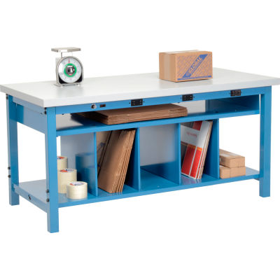 Global Industrial™ Electric Packing Workbench Plastic Square Edge - 72 x 30 - Lower Shelf Kit