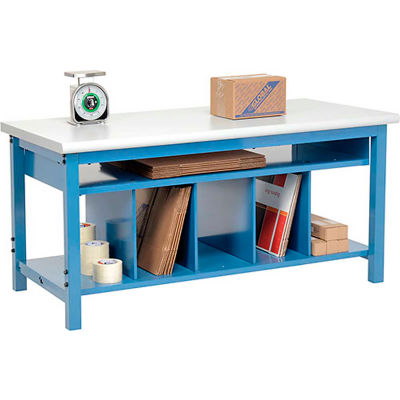 Global Industrial™ Packing Workbench Plastic Safety Edge - 72 x 30 with Lower Shelf Kit