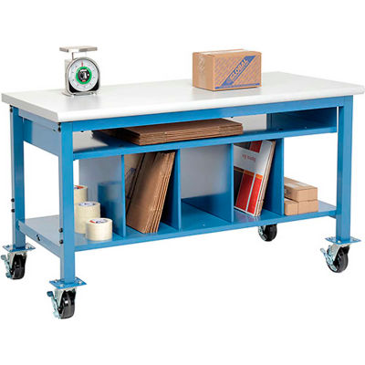 Global Industrial™ Mobile Packing Workbench Plastic Safety Edge - 60 x 30 with Lower Shelf Kit