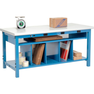 Global Industrial™ Electric Packing Workbench Plastic Safety Edge - 72 x 30 - Lower Shelf Kit