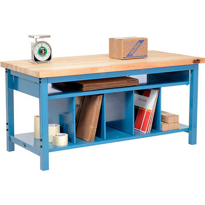 Global Industrial™ Packing Workbench Maple Butcher Block Square Edge 72x30 with Lower Shelf Kit