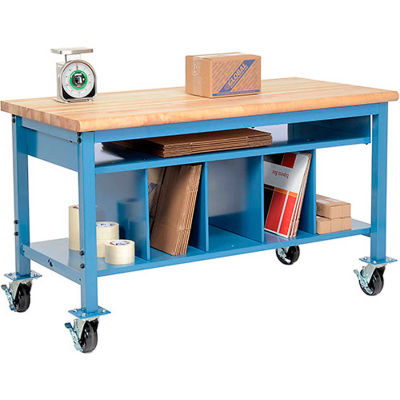 Global Industrial™ Mobile Packing Workbench Maple Block Safety Edge 60x30 with Lower Shelf Kit