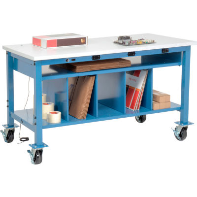 Global Industrial™ Mobile Electric Packing Workbench ESD Square Edge 60x30 - Lower Shelf Kit