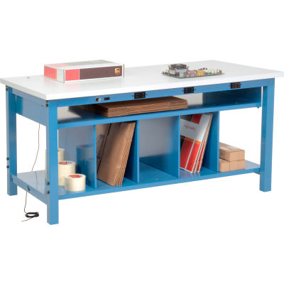 Global Industrial™ Electric Packing Workbench ESD Square Edge - 60 x 30 with Lower Shelf Kit