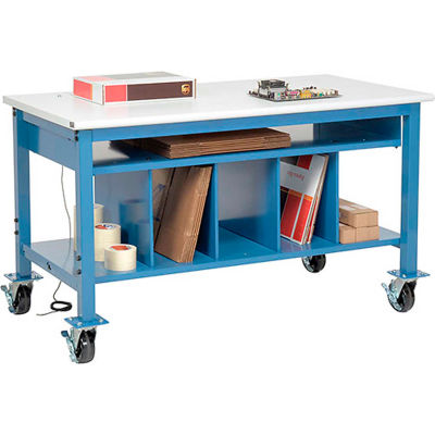 Global Industrial™ Mobile Packing Workbench ESD Safety Edge - 60 x 30 with Lower Shelf Kit