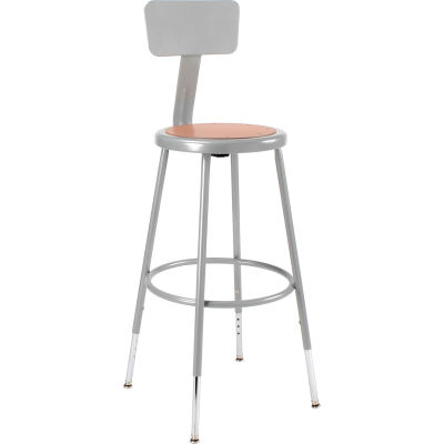 Interion® Steel Shop Stool w/Backrest and Hardboard Seat – Adjustable Height 25-33 - GRY - 2PK
