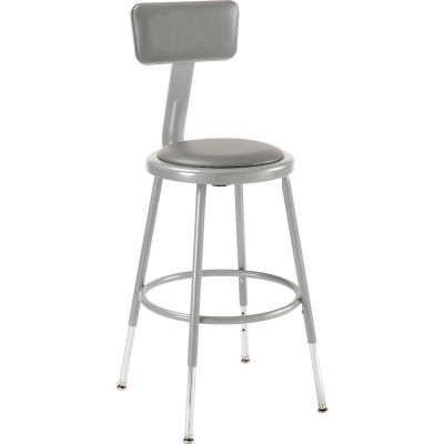 Interion® Steel Shop Stool w/Backrest and Padded Seat - Adjustable Height 19 - 27 - GRY - 2PK