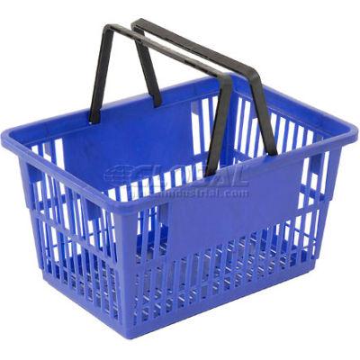 "Plastic Shopping Basket with Plastic Handle, 17""x12""x9"", Blue - Pkg Qty 12"