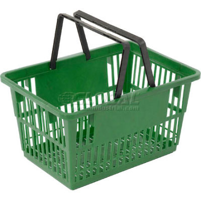 "Plastic Shopping Basket with Plastic Handle, Standard, 17""L X 12""W X 9""H, Green, Good L Corp. ® - Pkg Qty 12"