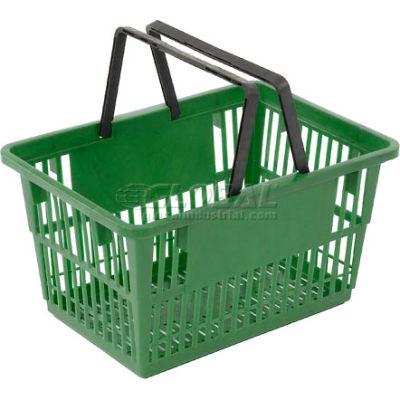 "Good L ® Standard Plastic Shopping Basket with Plastic Handle 20 Liter 17""L x 12""W x 9""H Green - Pkg Qty 12"