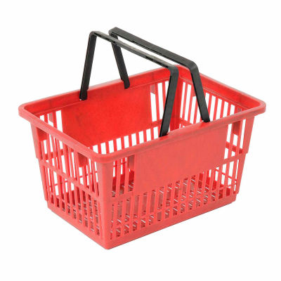 """Plastic Shopping Basket with Plastic Handle, Standard, 17""""L X 12""""W X 9""""H, Red, Good L Corp. ® - Pkg Qty 12"""
