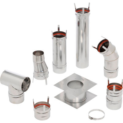 "HeatStar 4"" Horizontal Stainless Steel Vent Kit F102860 Category III Venting"