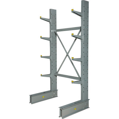 "Cantilever Rack Single Sided, Starter Unit Medium Duty (1000 Series), 48""W  x 33""D 8'H, 5300 Lbs Cap"