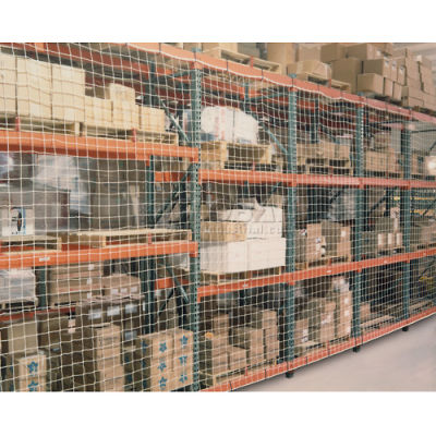 "Pallet Rack Netting Three Bay, 369""W x 120""H, 4"" Sq. Mesh, 2500 lb Rating"
