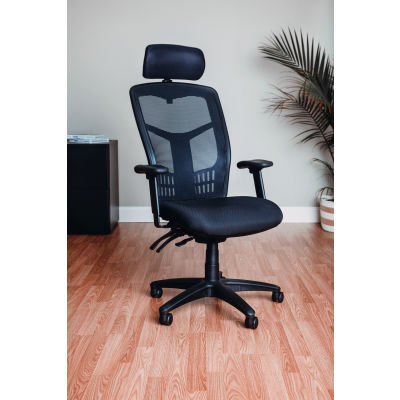 Interion® Mesh Task Chair with Headrest - Fabric - High Back - Black