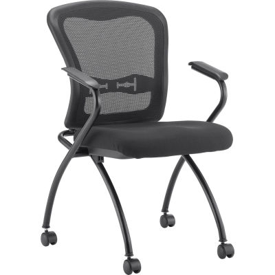 Interion® Mesh Stacking Chair with Arms - Fabric - Black - Pkg Qty 2