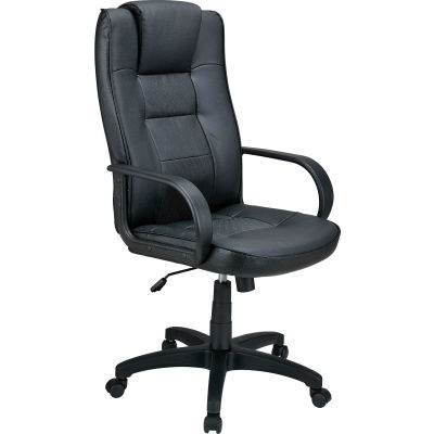 Interion® Executive Chair With Headrest, High Back & Fixed Arms, Leather, Black