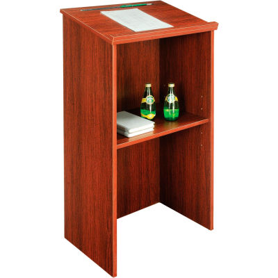"""Interion® Stand-Up Podium / Lectern, 23""""W X 15-3 / 4""""D X 45-7 / 8""""H, Mahogany"""