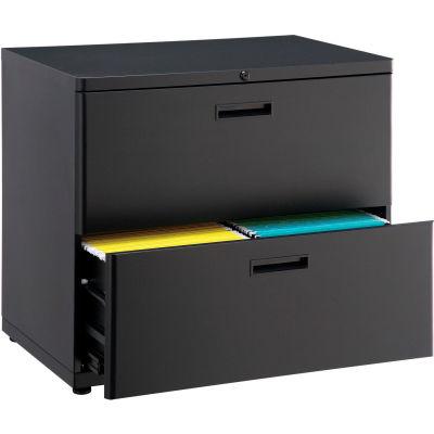 """Interion® 30"""" Lateral File Cabinet 2 Drawer Black"""