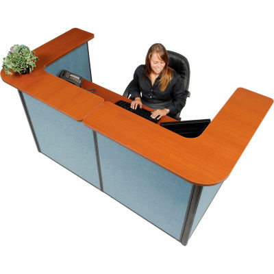 """Interion® U-Shaped Reception Station, 88"""" W x 44""""D x 44""""H, Cherry Counter, Blue Panel"""