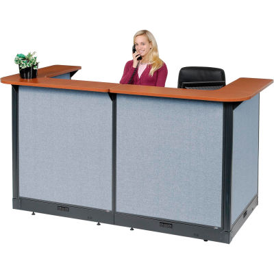 """Interion® U-Shaped Electric Reception Station, 88""""W x 44""""D x 46""""H, Cherry Counter, Blue Panel"""