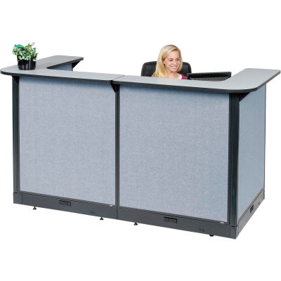 """Interion® U-Shaped Electric Reception Station, 88""""W x 44""""D x 46""""H, Gray Counter, Blue Panel"""