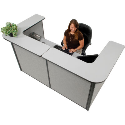 "Interion® U-Shaped Reception Station, 88""W x 44""D x 44""H, Gray Counter & Panel"