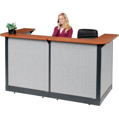 "Interion® U-Shaped Reception Station w/Raceway 88""W x 44""D x 46""H Cherry Counter Gray Panel"