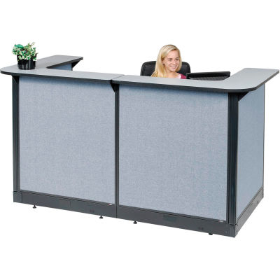 "Interion® U-Shaped Reception Station With Raceway, 88""W x 44""D x 46""H, Gray Counter, Blue Panel"