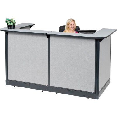 """Interion® U-Shaped Reception Station With Raceway, 88""""W x 44""""D x 46""""H, Gray Counter, Gray Panel"""