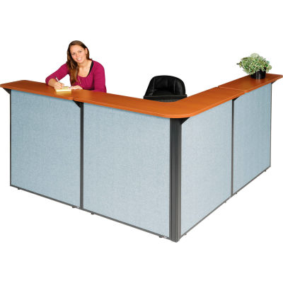 """Interion® L-Shaped Reception Station, 80""""W x 80""""D x 44""""H, Cherry Counter, Blue Panel"""