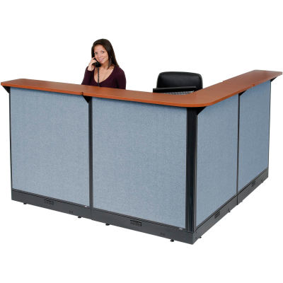 "Interion® L-Shaped Electric Reception Station, 80""W x 80""D x 46""H, Cherry Counter, Blue Panel"