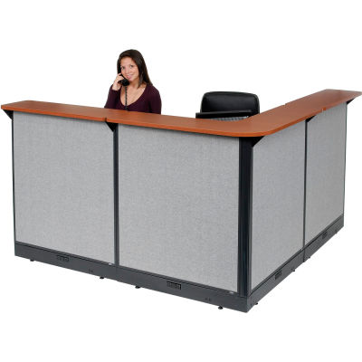 "Interion® L-Shaped Electric Reception Station, 80""W x 80""D x 46""H, Cherry Counter Gray Panel"