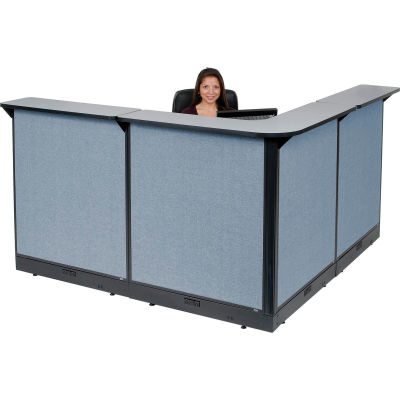 "Interion® L-Shaped Electric Reception Station, 80""W x 80""D x 46""H, Gray Counter, Blue Panel"