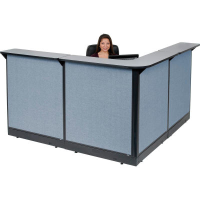 "Interion® L-Shaped Reception Station With Raceway, 80""W x 80""D x 46""H, Gray Counter, Blue Panel"