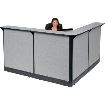 """Interion® L-Shaped Reception Station With Raceway, 80""""W x 80""""D x 46""""H, Gray Counter, Gray Panel"""