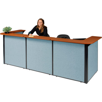 "Interion® U-Shaped Reception Station With Cherry Counter & Blue Paneling, 124""W x 44""D x 44""H"