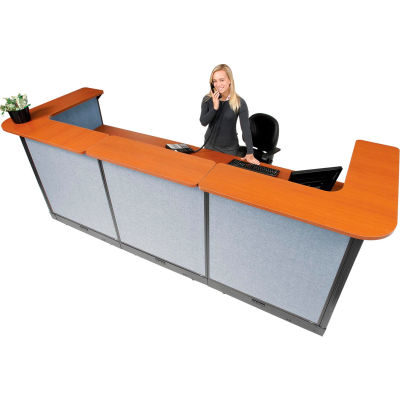 """Interion® U-Shaped Electric Reception Station, 124""""W x 44""""D x 46""""H, Cherry Counter, Blue Panel"""