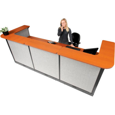 "Interion® U-Shaped Electric Reception Station, 124""W x 44""D x 46""H, Cherry Counter Gray Panel"