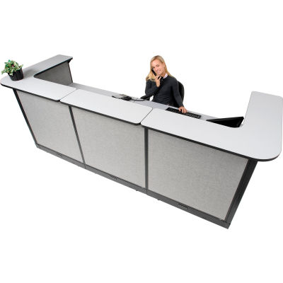 "Interion® U-Shaped Electric Reception Station, 124""W x 44""D x 46""H, Gray Counter, Gray Panel"