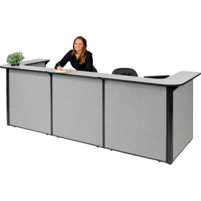 """Interion® U-Shaped Reception Station, 124""""W x 44""""D x 44""""H, Gray Counter, Gray Panel"""