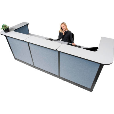 "Interion® U-Shaped Reception Station w/Raceway 124""W x 44""D x 46""H Gray Counter Blue Panel"