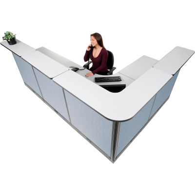 """Interion® L-Shaped Electric Reception Station, 116""""W x 80""""D x 46""""H, Gray Counter, Blue Panel"""