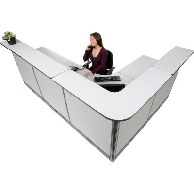 """Interion® L-Shaped Electric Reception Station, 116""""W x 80""""D x 46""""H, Gray Counter, Gray Panel"""