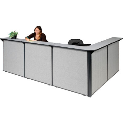 """Interion® L-Shaped Reception Station, 116""""W x 80""""D x 44""""H, Gray Counter, Gray Panel"""