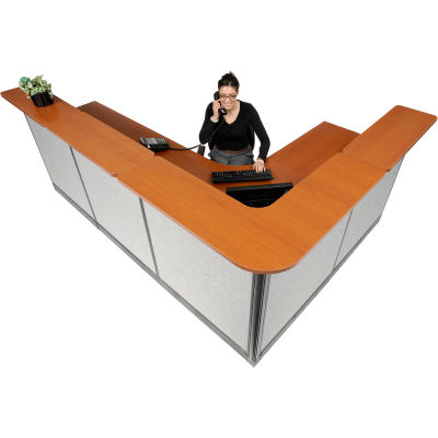 "Interion® L-Shaped Reception Station w/Raceway 116""W x 80""D x 46""H Cherry Counter Gray Panel"