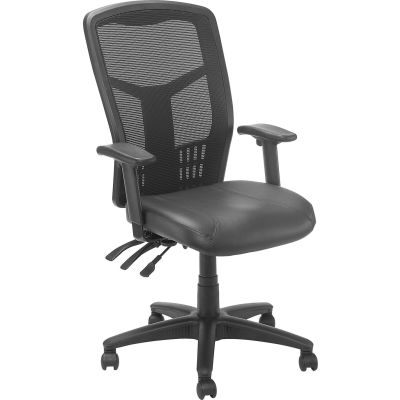 Interion® Mesh Task Chair - Leather Seat - High Back - Black